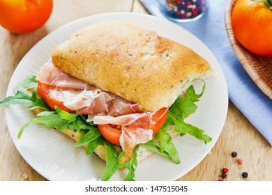 Prosciutto on Olive Ciabatta with Rocket sandwich
