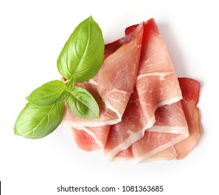 prosciutto slice isolated on a white background