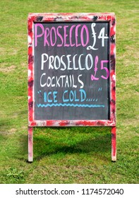 Prosecco and Cocktails Sign on a blackboard