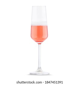 Prosecco rose sparkling dry wine in special glass isolated on white