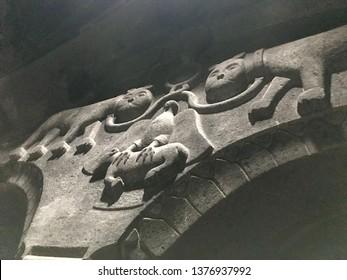 Proshyan dynasty symbol in Geghard monastery, Armenia