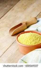 Proso grains on the kitchen table