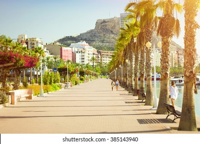 Prospect Av del Almirante Julio Guillen Tato with palm trees, views of castle Santa Barbara, Alicante, Valencia, Spain