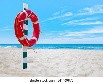 Prospect of a lifesaver on the beach as the concept of rescue