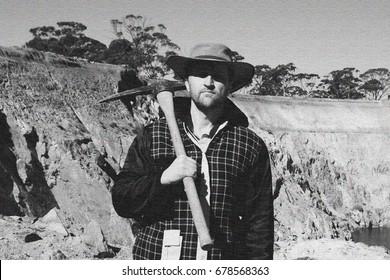 Prospector with a Pickaxe (Grain Texture)