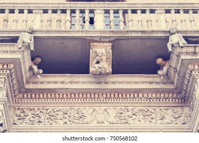 Prosperi Sacrati Palace. Architectural detail. Ferrara, Italy.