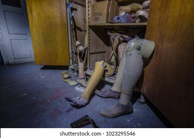 prostheses in a cabinet in old hospital