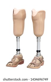 Prosthetic artificial leg with shoe for amputation patient isolated on a white background