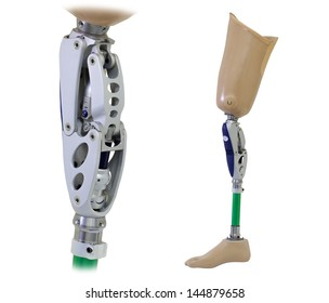 Prosthetic leg and knee mechanism isolated on white