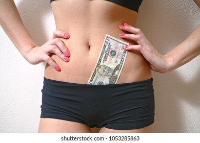 Prostitute With Hundred Bill IN Her LIngerie