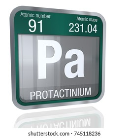 Protactinium symbol  in square shape with metallic border and transparent background with reflection on the floor. 3D render. Element number 91 of the Periodic Table of the Elements - Chemistry