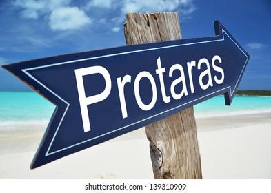 Protaras sign on the beach