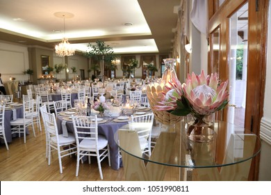 protea flower pink and beige decor gala dinner with candles