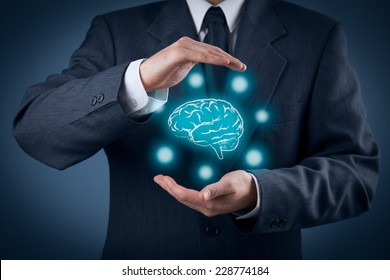 Protect business ideas, brainstorming and headhunter concepts. Intellectual property protection law and rights, copyright, artificial intelligence and patents concept.