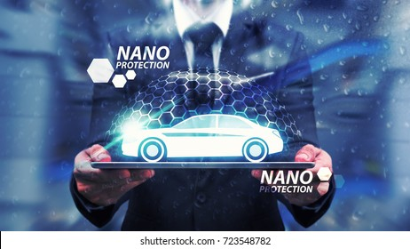Protect the car by nano technology shield : Business man care with nano protection and shield ,headlight on