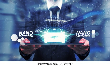 Protect the car by nano technology shield : Business man care with nano protection and shield
