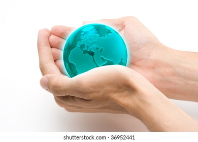 Protect The Earth Concept - Glass globe in the hands