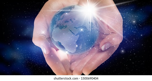 Protect our world in human hands and nebula dust