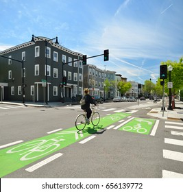 Protected bike lane in the city