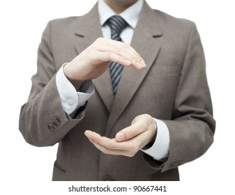 Protecting hands. Clipping path included.