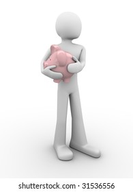 protecting savings (piggy-bank in hands)