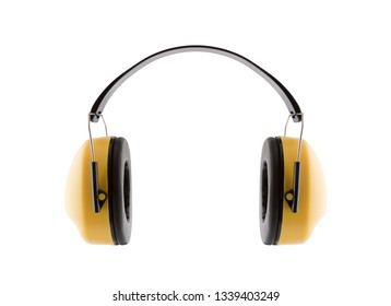 Protection against noise. Hearing protection yellow ear muffs isolated on white background