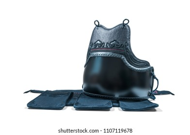 protection armor for the torso, chest and abdomen 'do' and  armor for the hips 'tare' for Japanese fencing Kendo isolated