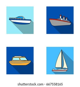Protection boat, lifeboat, cargo steamer, sports yacht.Ships and water transport set collection icons in flat style raster, bitmap symbol stock illustration web.
