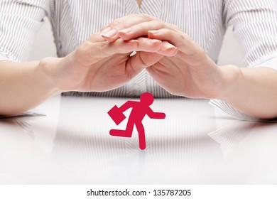 Protection businessman (concept)