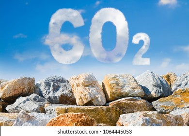Protection from Co2 - concept image against a boulders wall on sky background