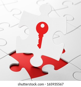 Protection concept: Key on White puzzle pieces background, 3d render