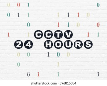 Protection concept: Painted black text CCTV 24 hours on White Brick wall background with Binary Code