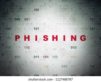 Protection concept: Painted red text Phishing on Digital Data Paper background with Binary Code