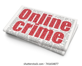 Protection concept: Pixelated red text Online Crime on Newspaper background, 3D rendering