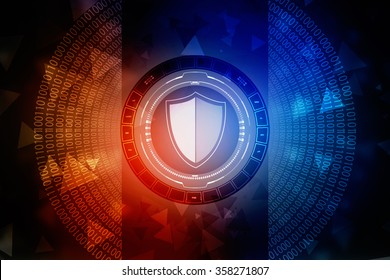 Protection concept: pixelated Shield icon on digital background