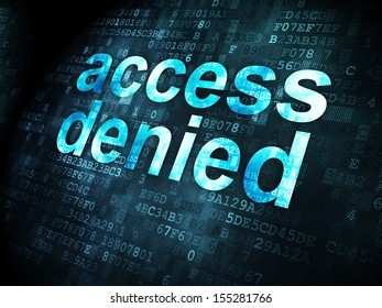 Protection concept: pixelated words Access Denied on digital background, 3d render