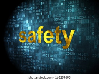Protection concept: pixelated words Safety on digital background, 3d render