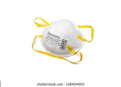 protection factor for N95 Filtering face mask-safty white mask on white background with clipping path
