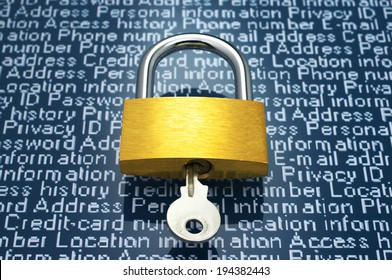 Protection of personal information. Padlock and personal information.