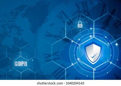Protection shield and Icon lock over EU flag inside, EU map, symbolizing the EU General Data Protection Regulation or GDPR. Designed to harmonize data privacy laws across Europe.