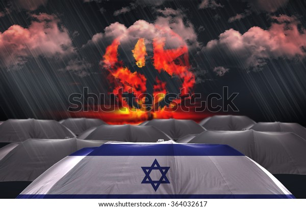 Protection Umbrella with flag of Israel on a money war background