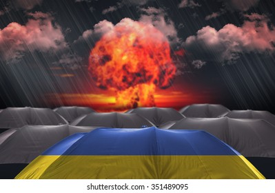 Protection Umbrella with flag of Ukraine on a war background