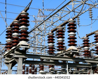 protective cage from lightning and large electric switch in an electrical substation hydroelectric power plant