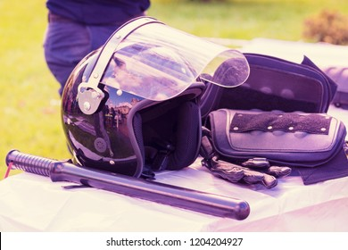 Protective clothes policeman. Police A helmet, armor - a bulletproof vest. Police steel head-piece. suit with ceramic plates and kevlar. Blue helmets. Peacekeepers