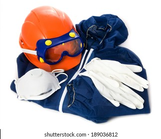 protective clothing on white background