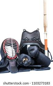 protective equipment 'bogu' and bamboo sword  for Japanese fencing Kendo training close-up