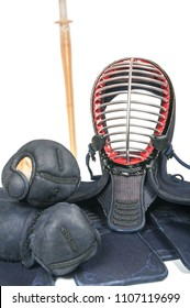 protective equipment 'bogu' and bamboo sword 'sinai'  for Japanese fencing Kendo training isolated