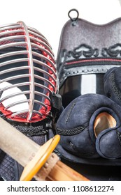 protective equipment 'bogu' and bamboo sword 'sinai'  for Japanese fencing Kendo training close-up