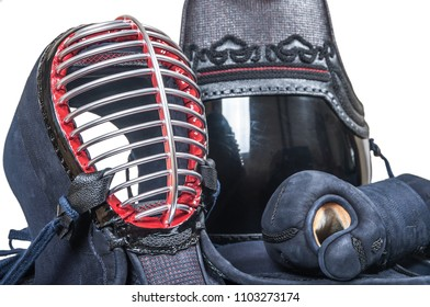 protective equipment 'bogu' for Japanese fencing Kendo training close-up