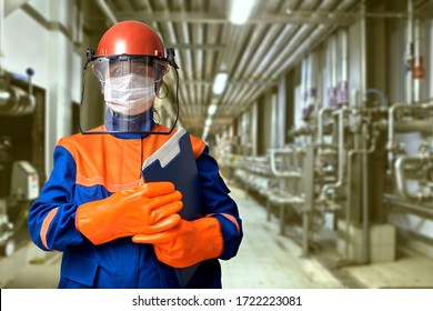 A protective gear or workwear for an industrial electrical engineer includes a face mask to protect against covid-19 coronavirus infection during a pandemic.